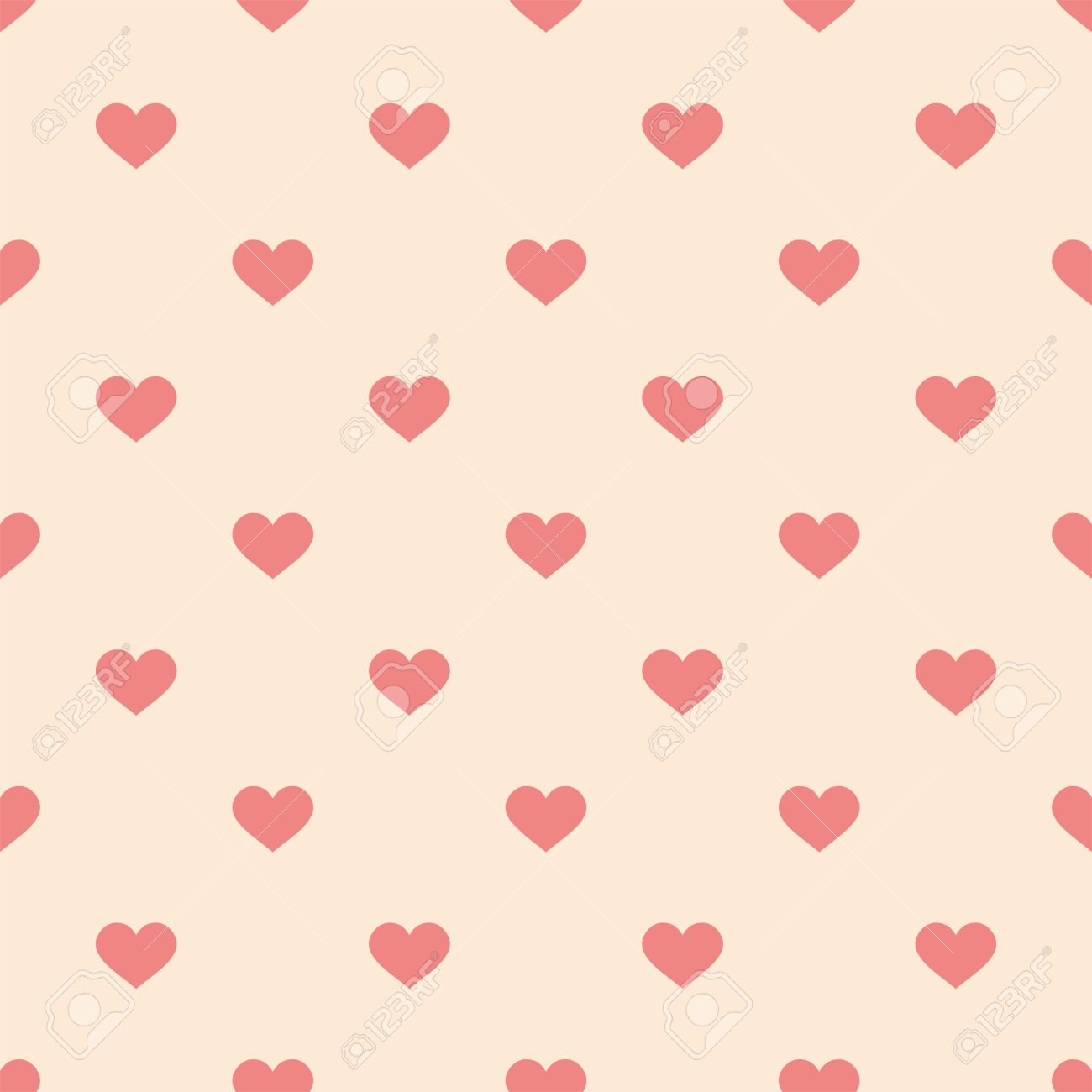 Tile Cute Vector Pattern With Pink Hearts On Pastel Background For Seamless Decoration Wallpaper Stock