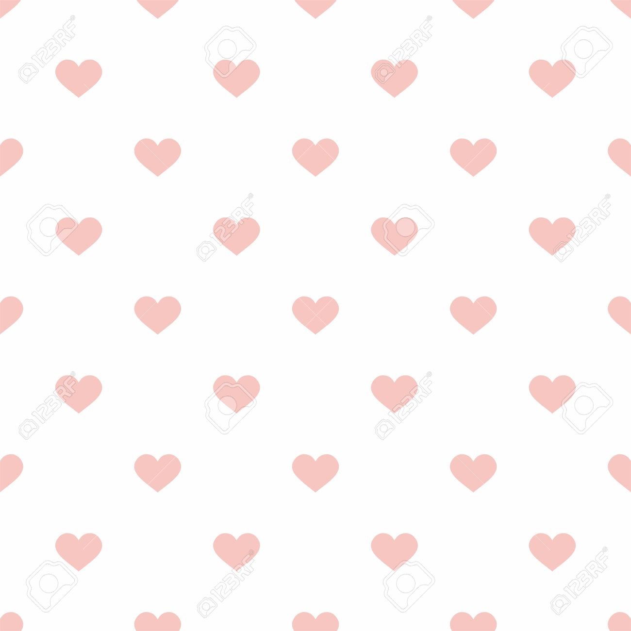 Pastel Tile Vector Pattern With Pink Hearts On A White Background For Seamless Decoration Wallpaper Stock
