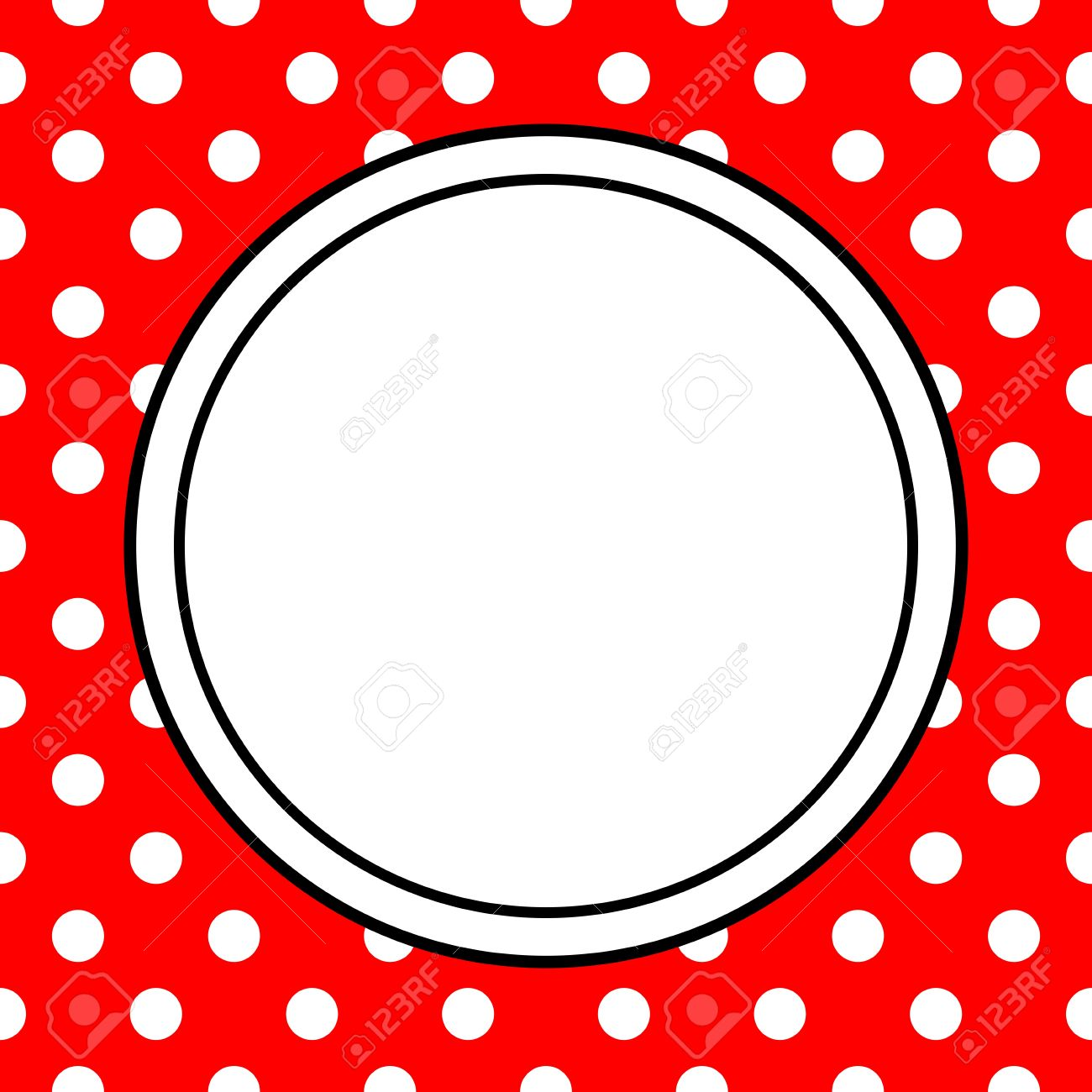 Hand Drawn Vector Frame With A Polka Dots On Red Background Royalty ...