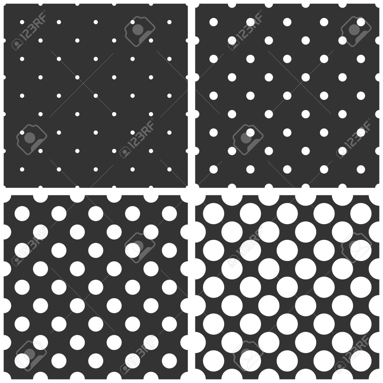 黒 白 灰色のシームレス パターンや大小の水玉模様の背景 デスクトップ壁紙と Web サイト デザイン のイラスト素材 ベクタ Image
