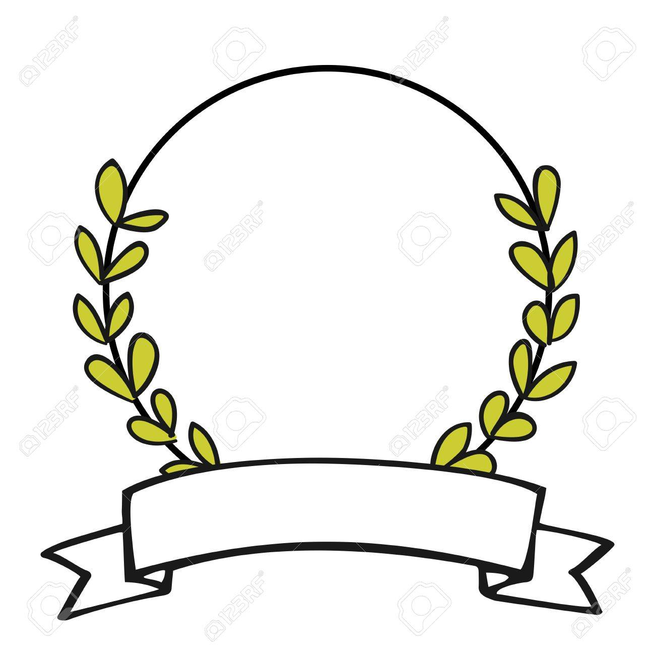 Laurel Wreath Black And White Photo Frame Isolated On White ...