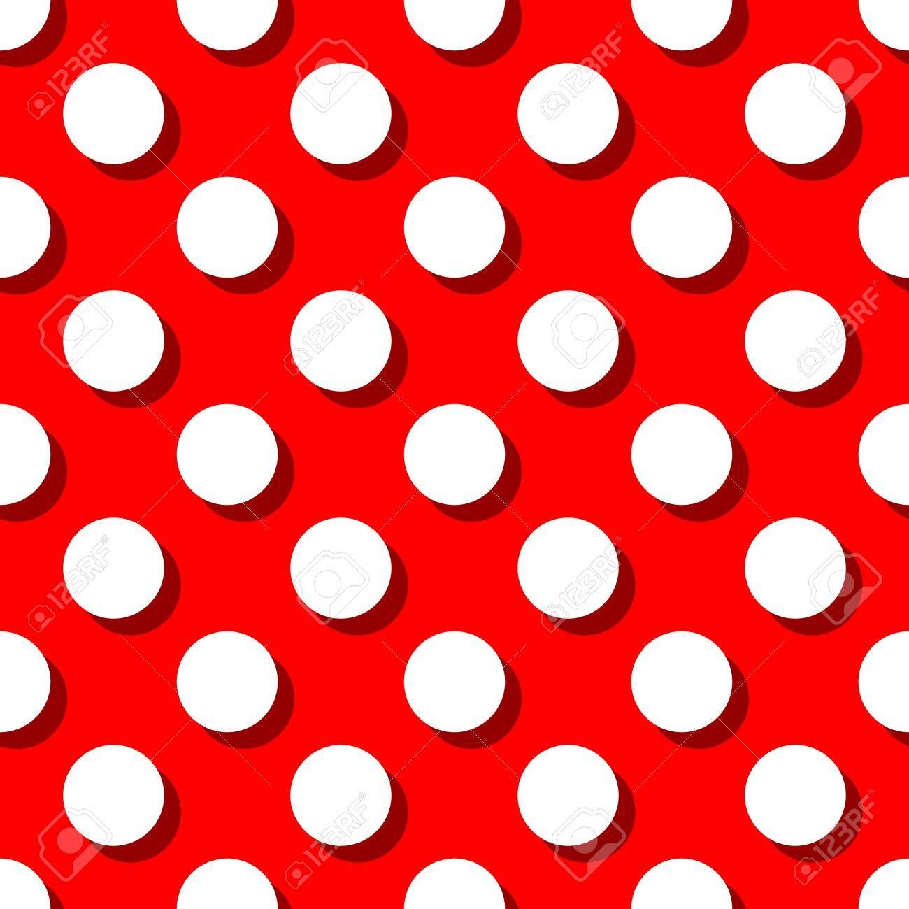 装飾壁紙の赤の背景に大きな白の水玉模様のレトロなパターンのイラスト素材 ベクタ Image