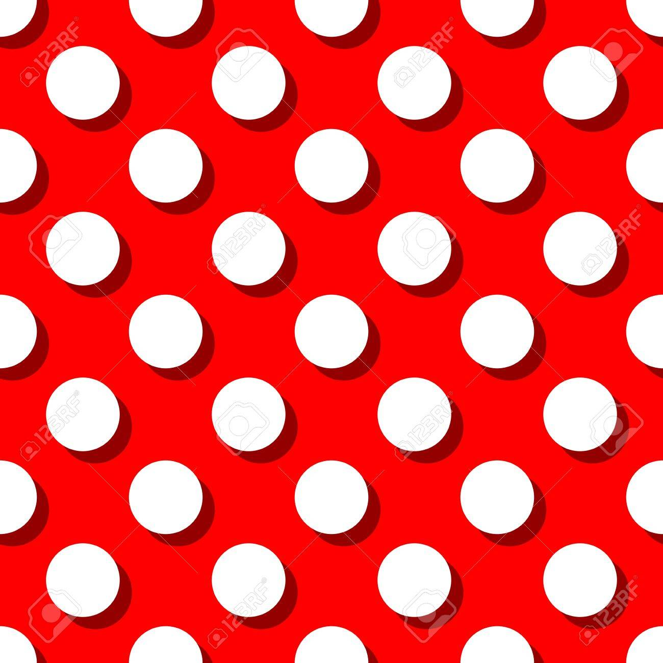 Retro Pattern With Big White Polka Dots On Red Background For Decoration Wallpaper Stock Vector