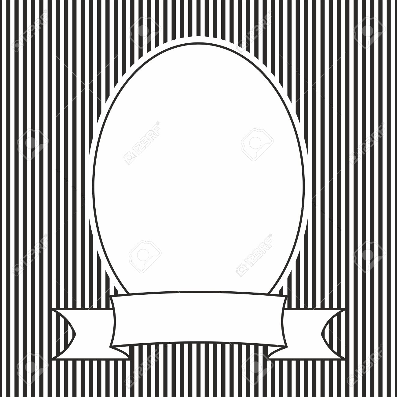 Hand Drawn Vector Frame On Black And White Stripes Background