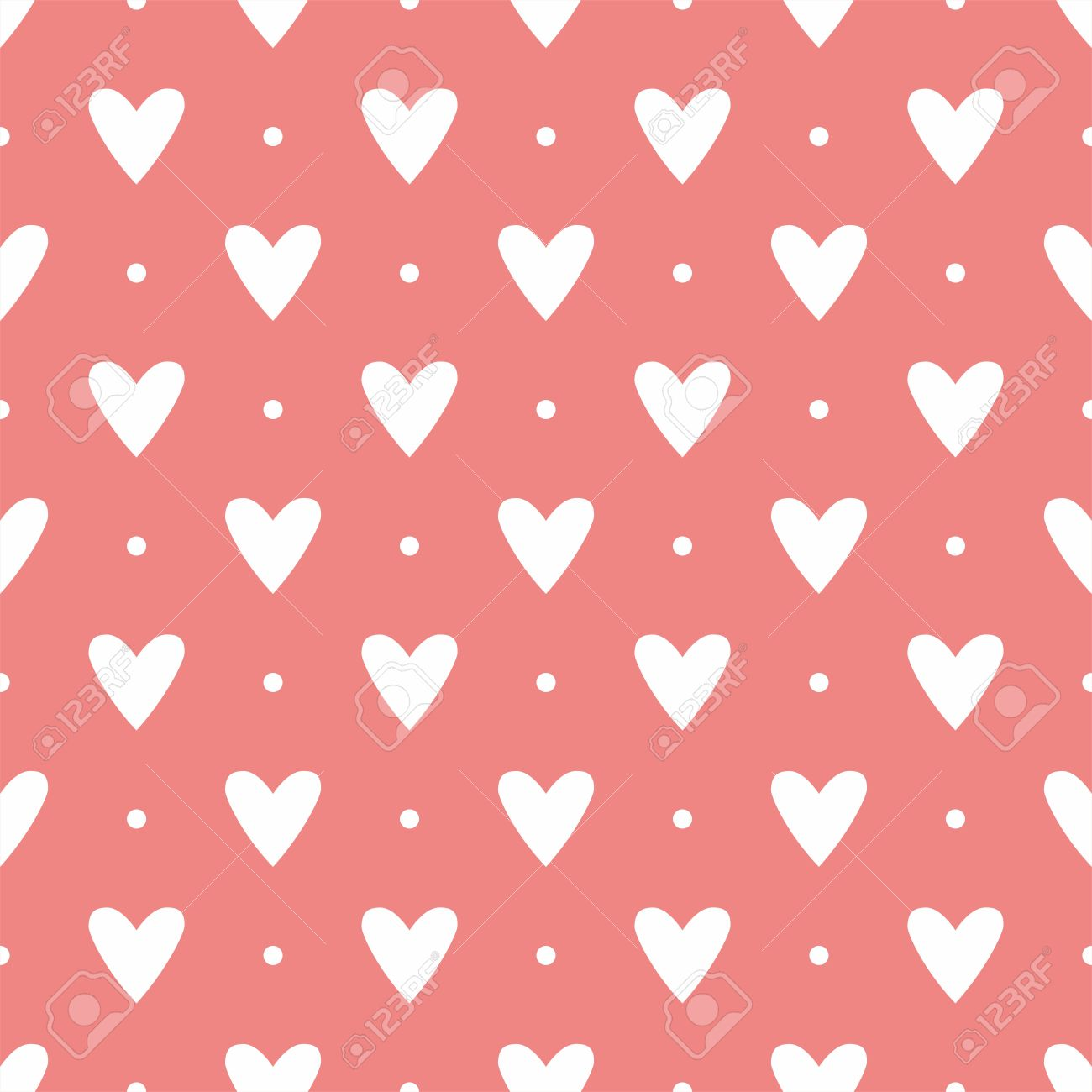 Tile cute pattern with white hearts on polka dots on pastel pink tile cute pattern with white hearts on polka dots on pastel pink background stock vector voltagebd Gallery