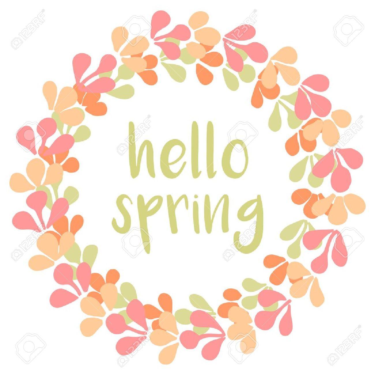 Ordinaire Hello Spring Watercolor Pastel Wreath Vector Card Stock Vector   49725442