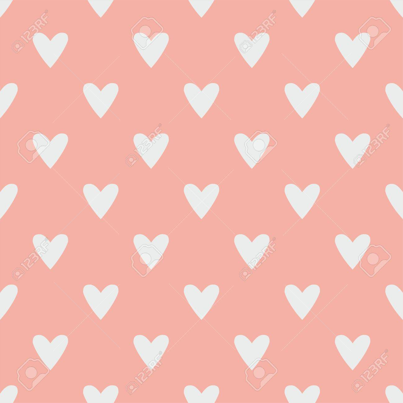 tile vector pattern with grey hearts on pastel pink background