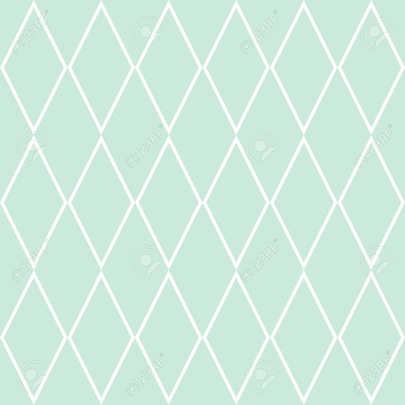 Tile Pattern Or Mint Green And White Wallpaper Background Stock Vector