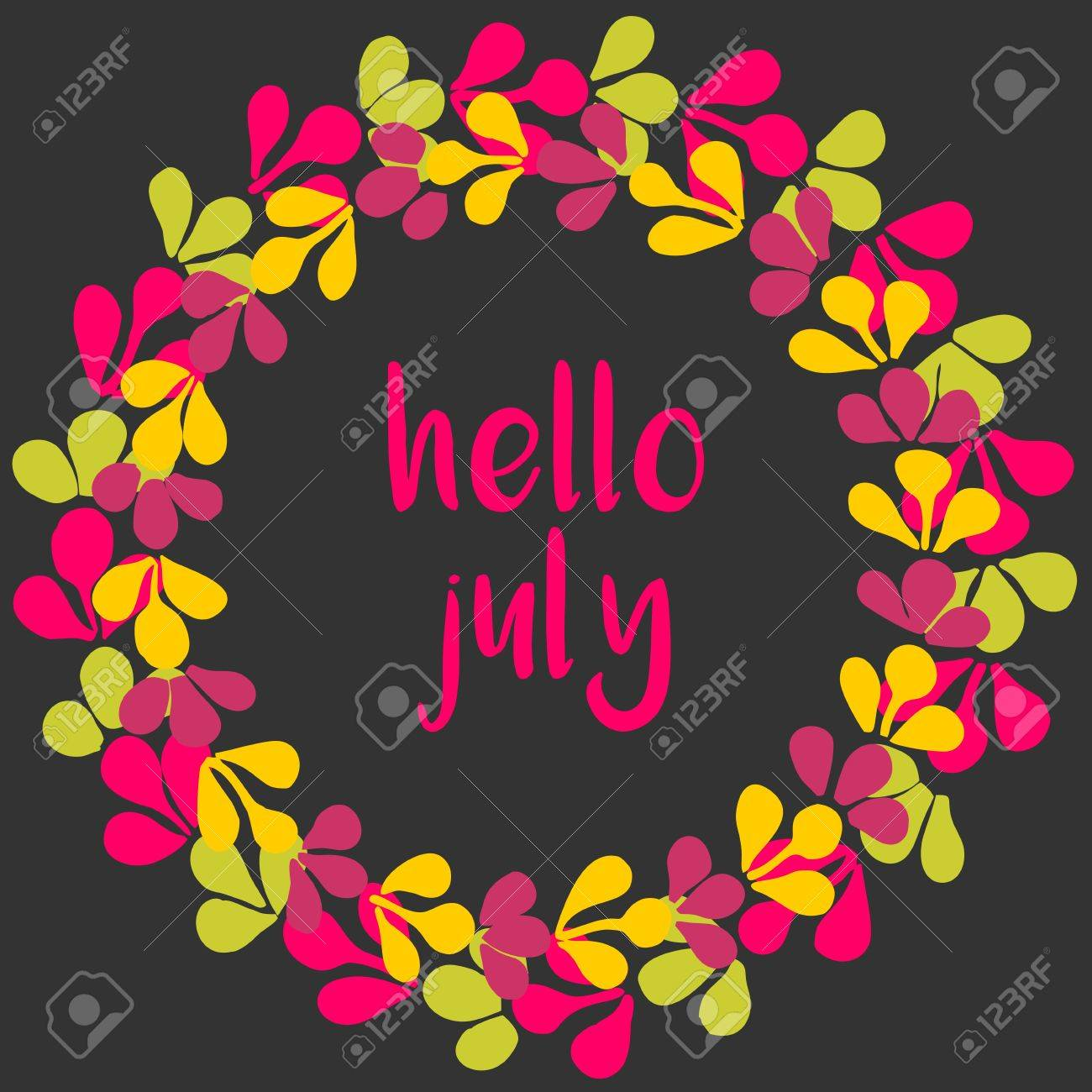 Hello July Vector Wreath Sunny Yellow, Green And Pink Card On Black  Background Stock Vector
