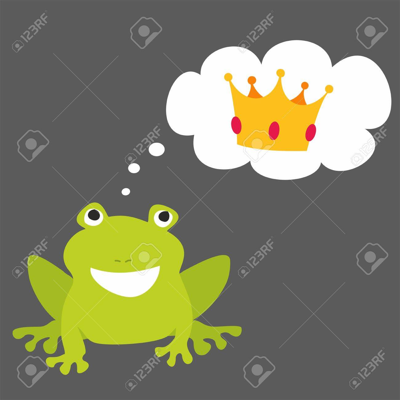 prince or princess frog dreaming about crown vector illustration rh 123rf com Black and White Frog Vector Tree Frog Vector
