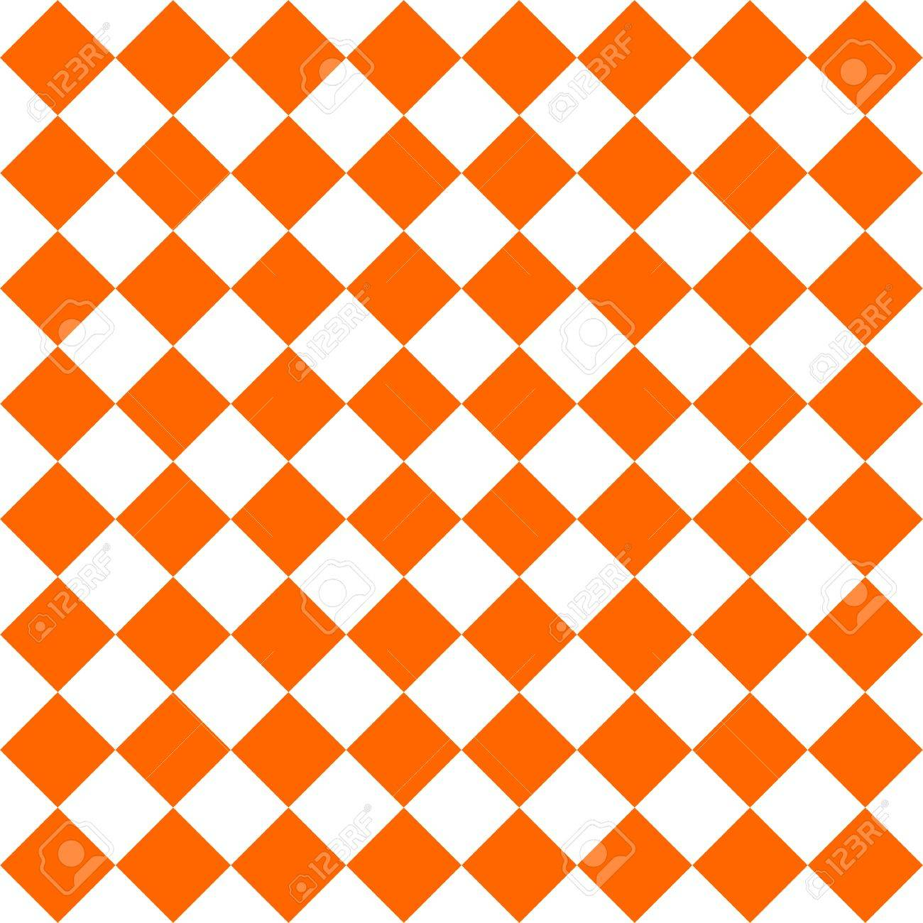 Checkered Tile Pattern Or Orange And White Wallpaper Background Stock Vector