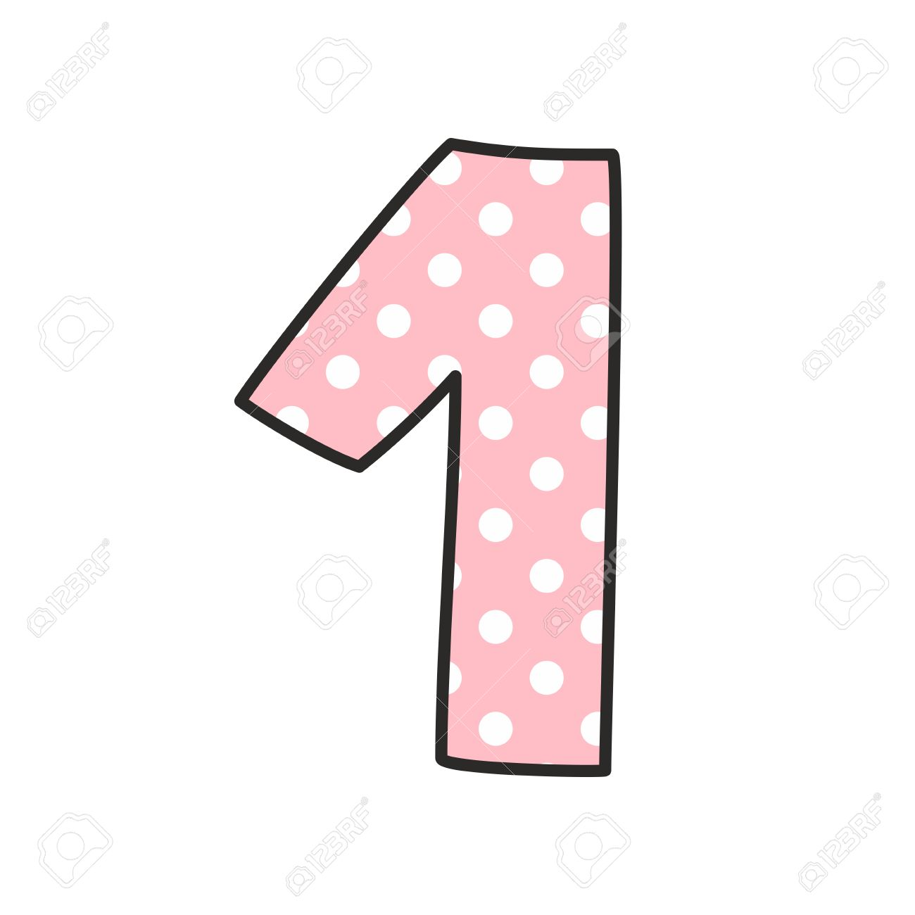 number 1 with white polka dots on pastel pink vector illustration