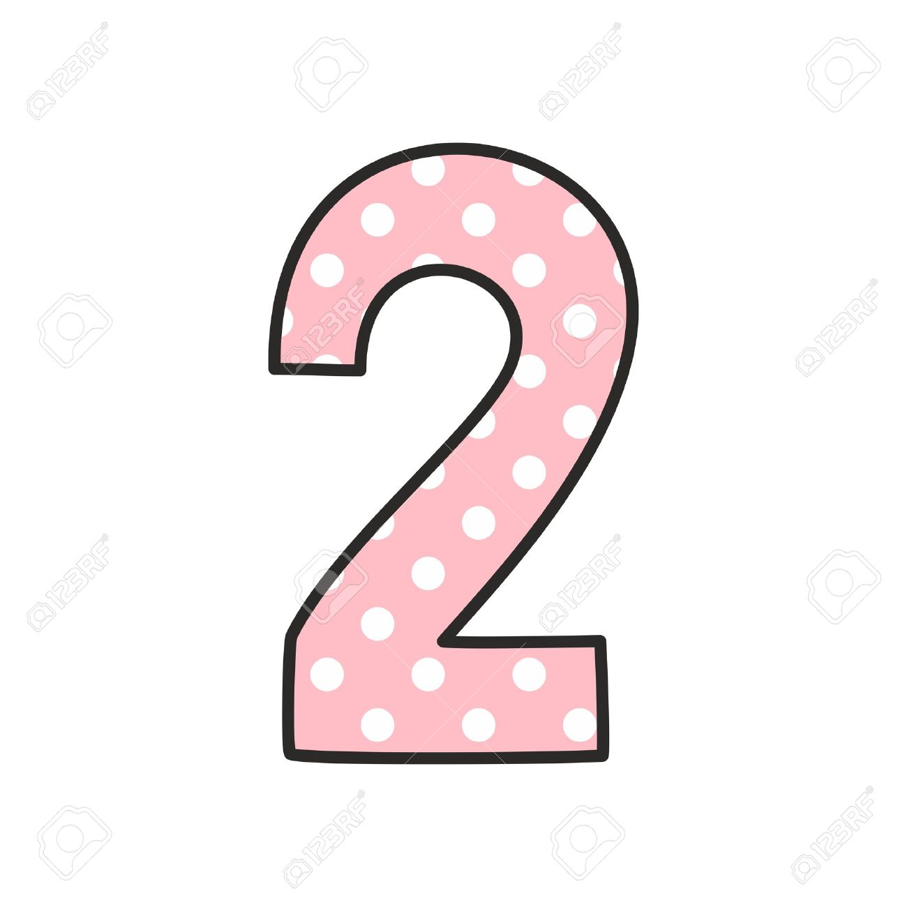 number 2 with white polka dots on pastel pink vector illustration