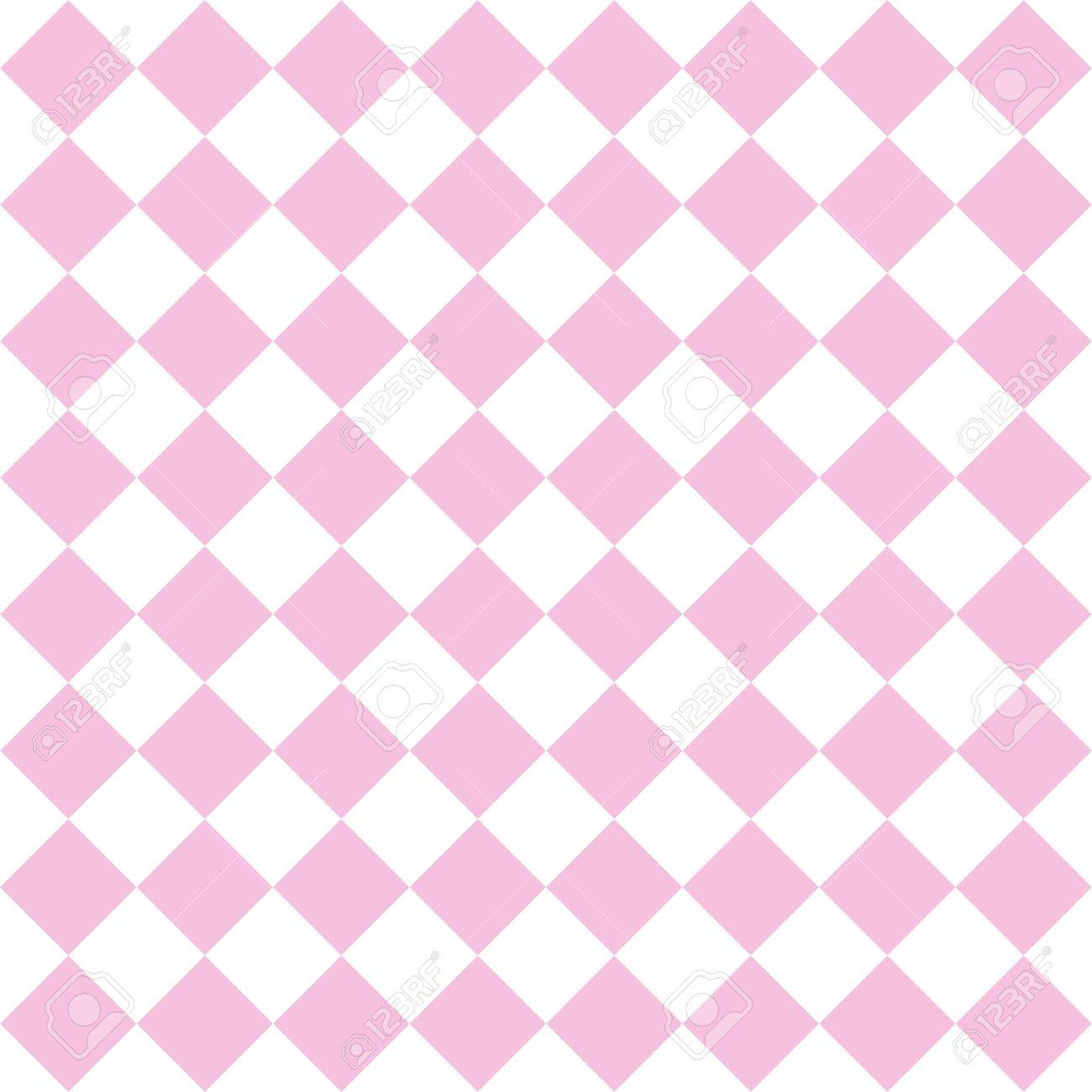 Checkered Tile Vector Pattern Or Pink And White Wallpaper Background Stock