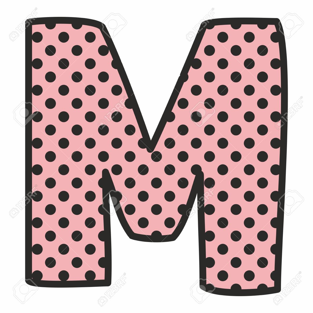 Vector Alphabet Letter M With Black Polka Dots On Pink Background