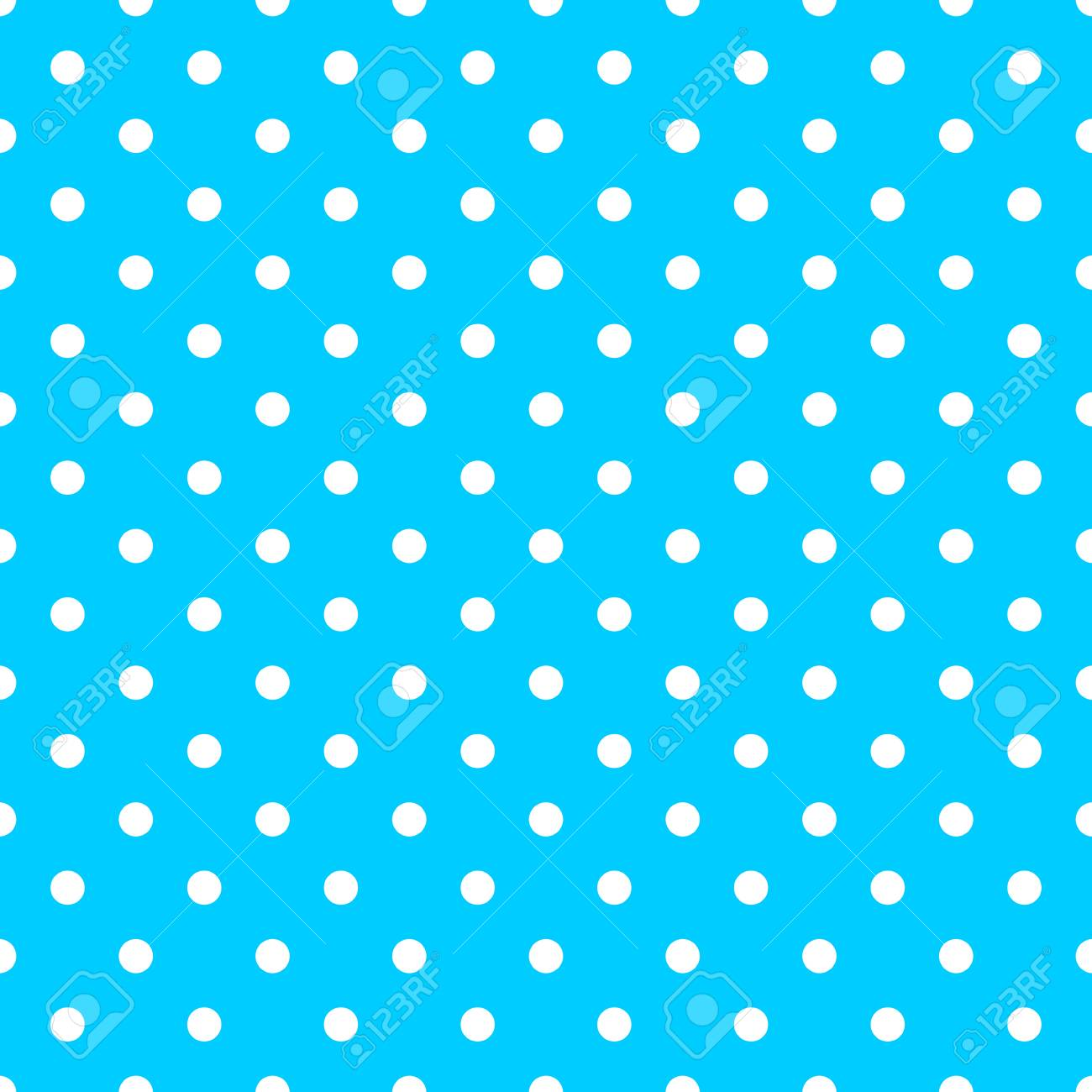 Tile Vector Pattern With Cute White Polka Dots On Blue Background Stock