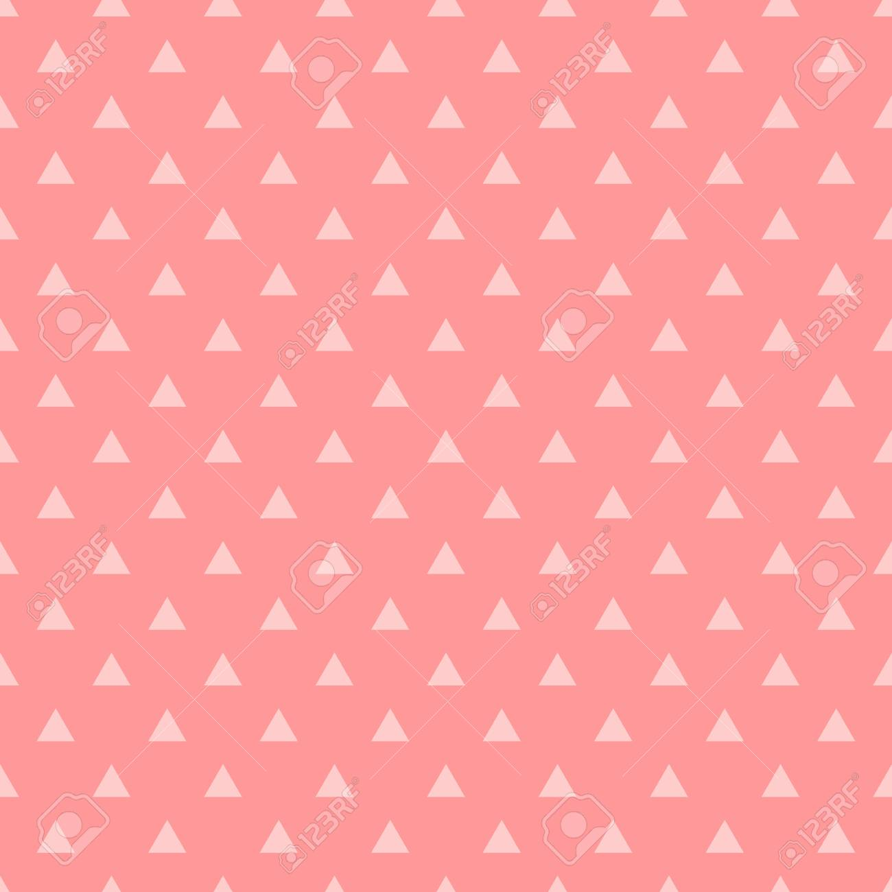 tile vector pattern with pink triangles on pastel pink background