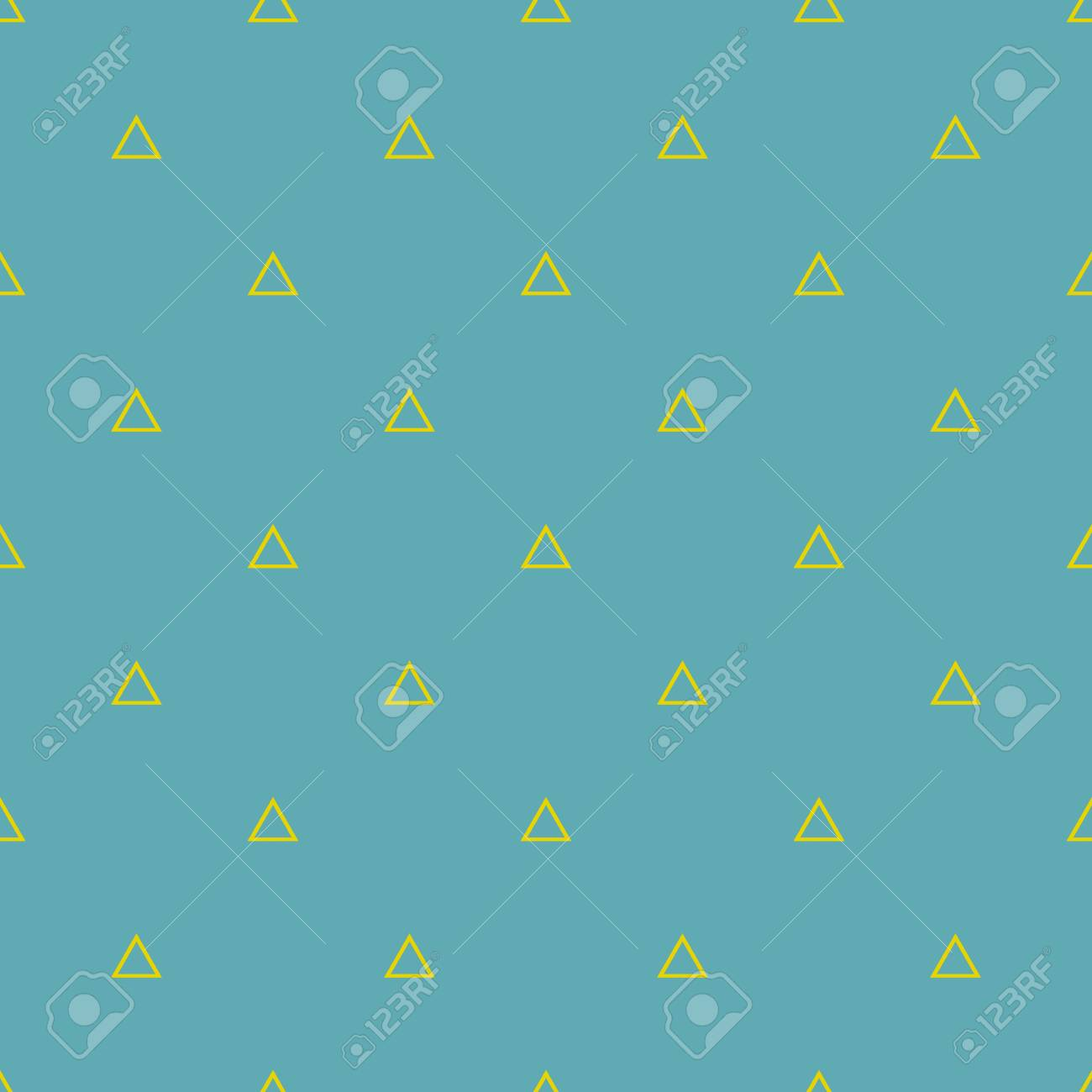 Tile vector pattern with yellow triangles on pastel mint green