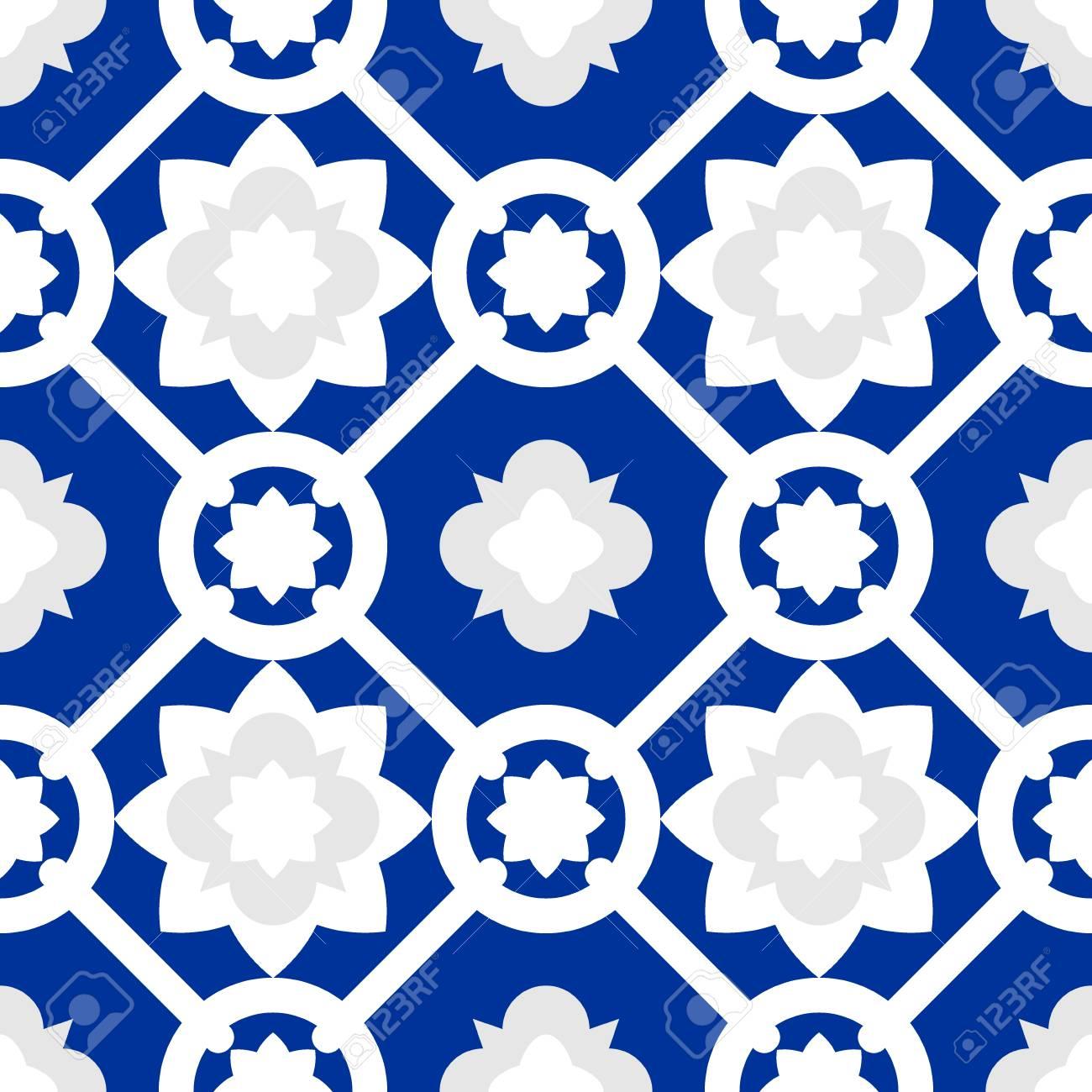 Tile Indigo Blue Decorative Floor Tiles Vector Pattern Royalty Free ...