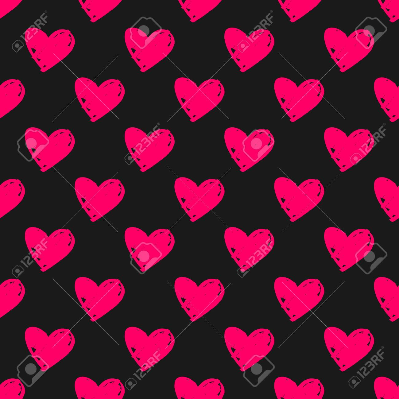 Tile Vector Pattern With Pink Hearts On Black Background For
