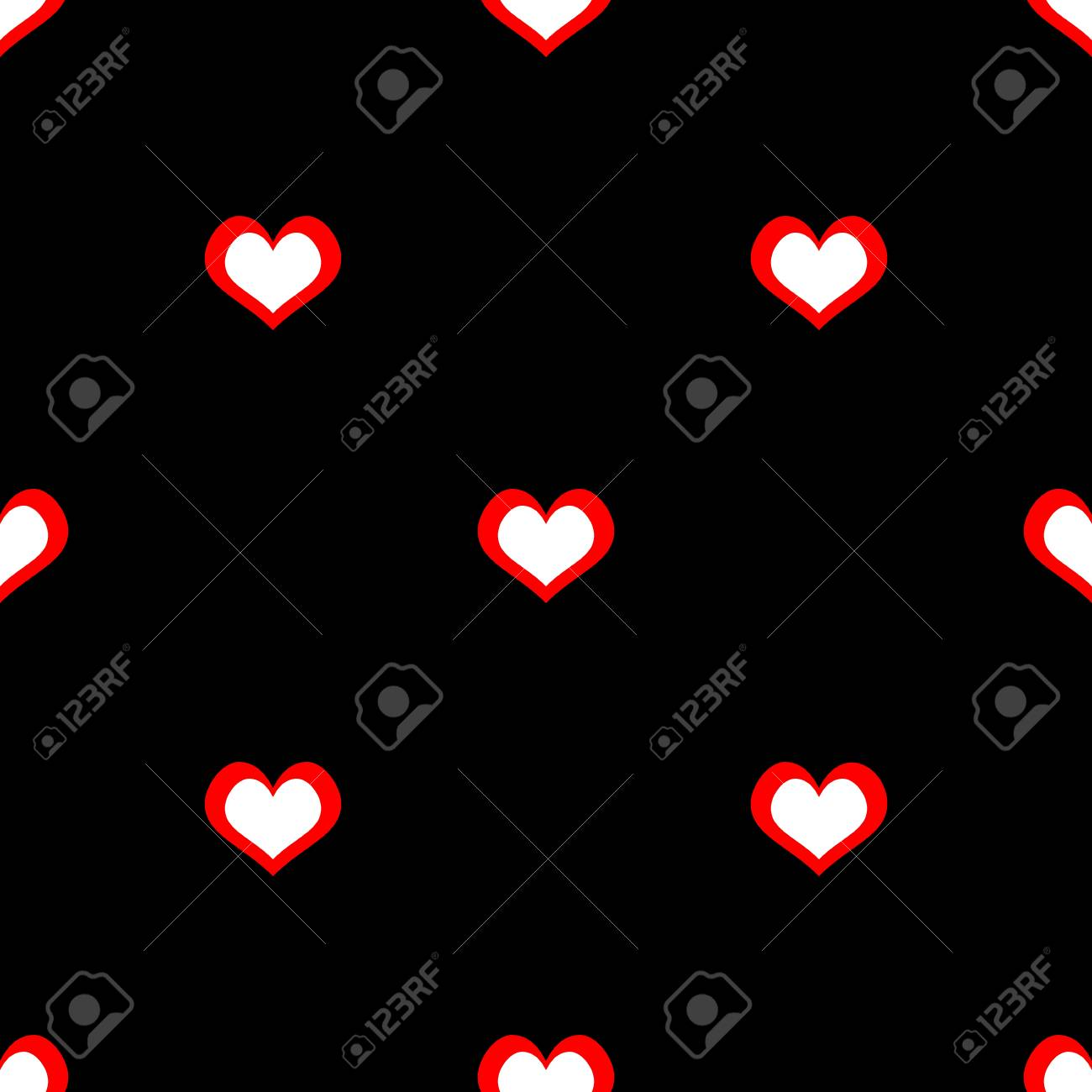 Tile Vector Pattern With Red And White Hearts On Black Background