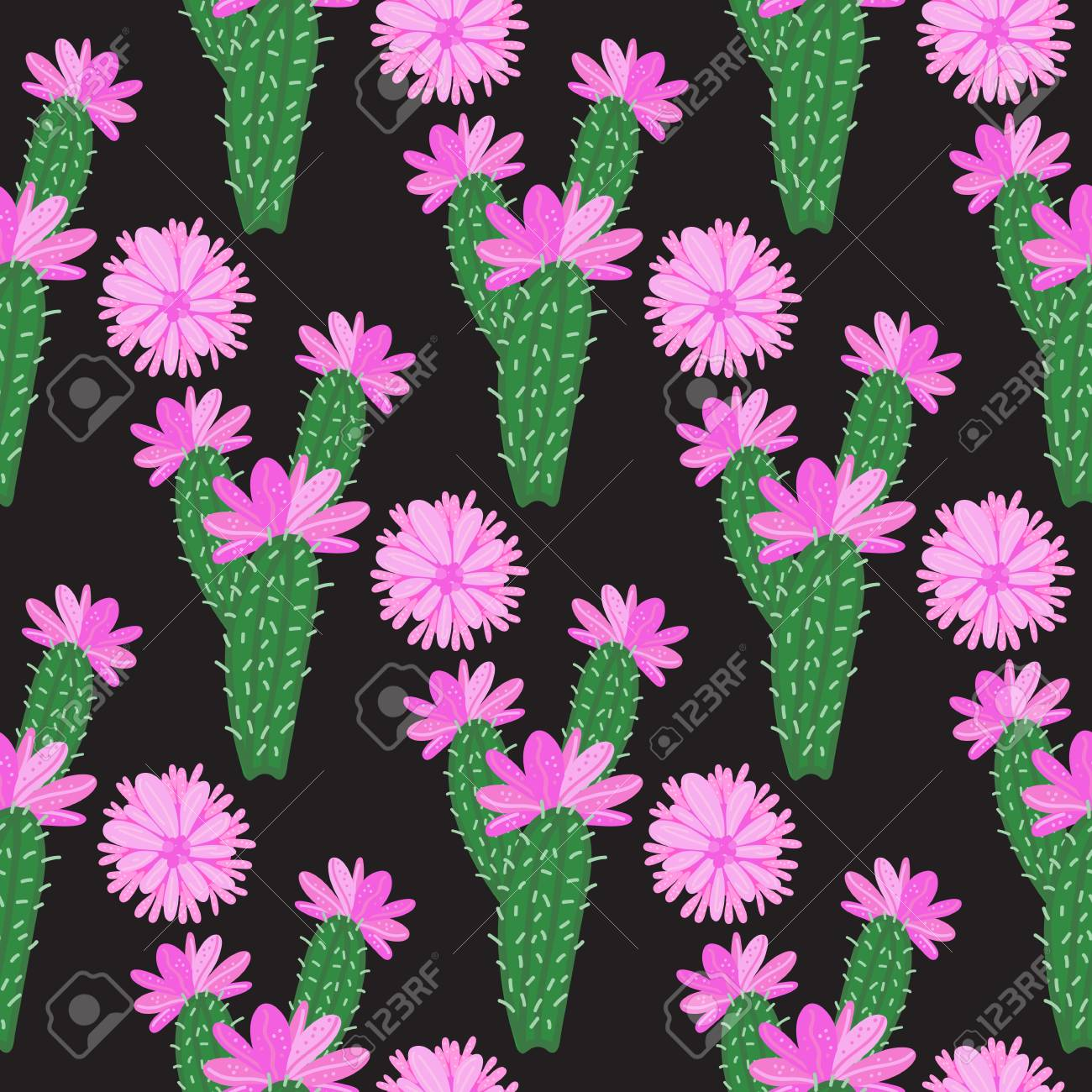 Vector Cactus With Pink Flowers Seamless Pattern Royalty Free