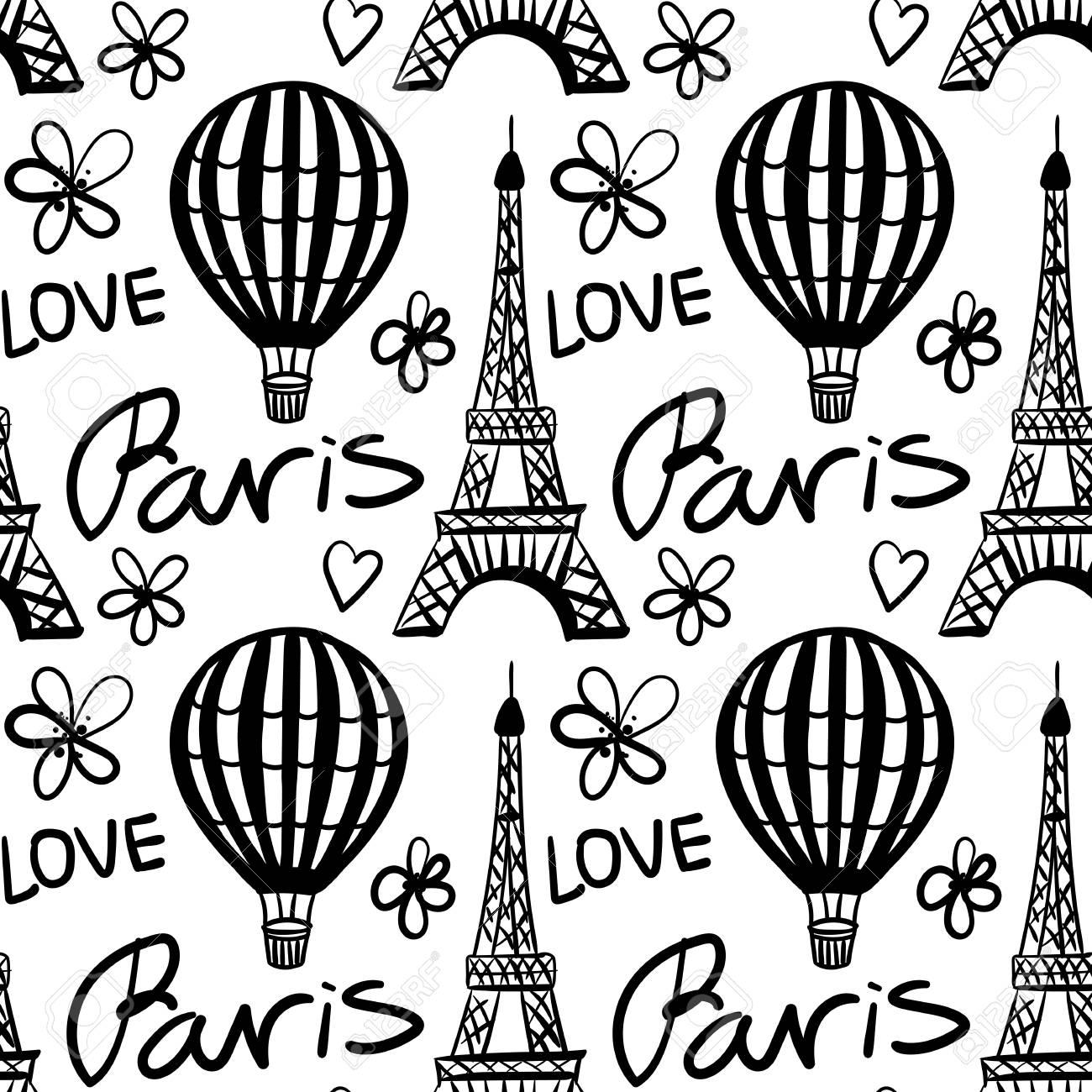 Vector Seamless Pattern Balloon and Paris Eiffel Tower Monochrome - 104086913