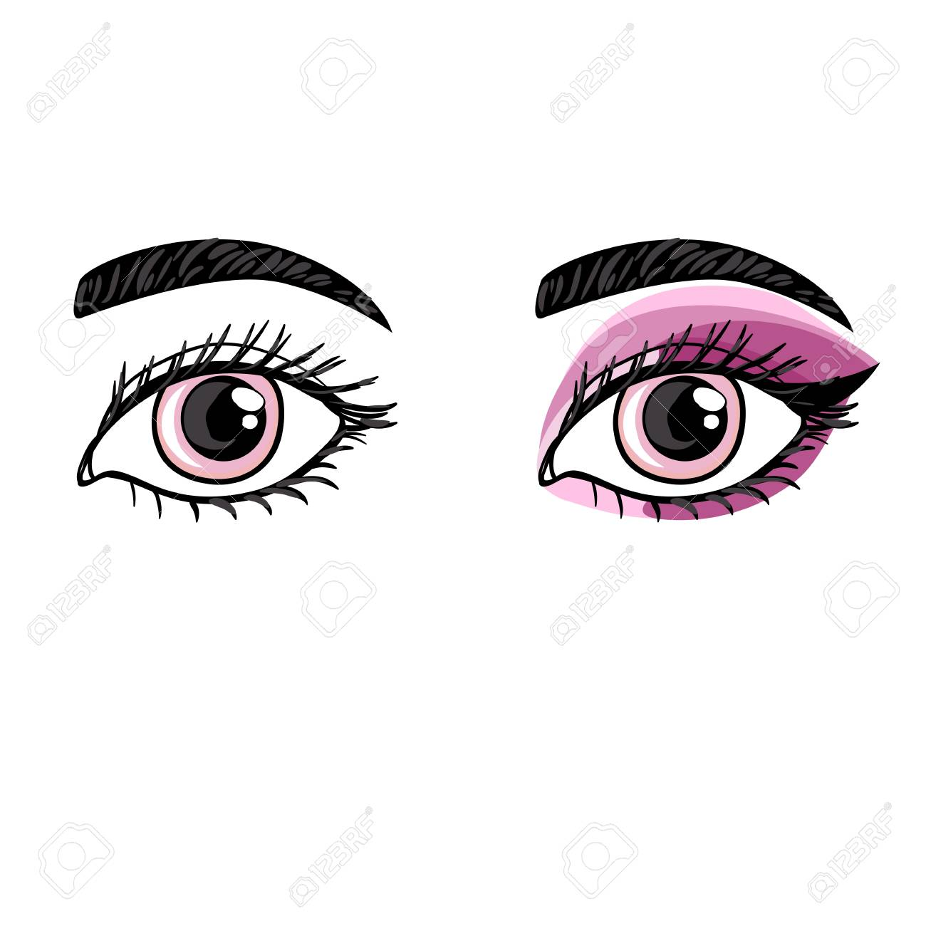 Vector vector hand drawing female eye before and after makeup