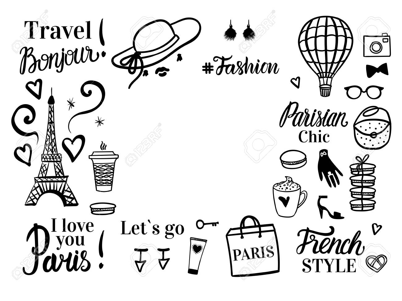 Paris Discount tour. Set shopping black sketch fashion illustration. Banner with space for text. Vector isolated on white background. - 127132608