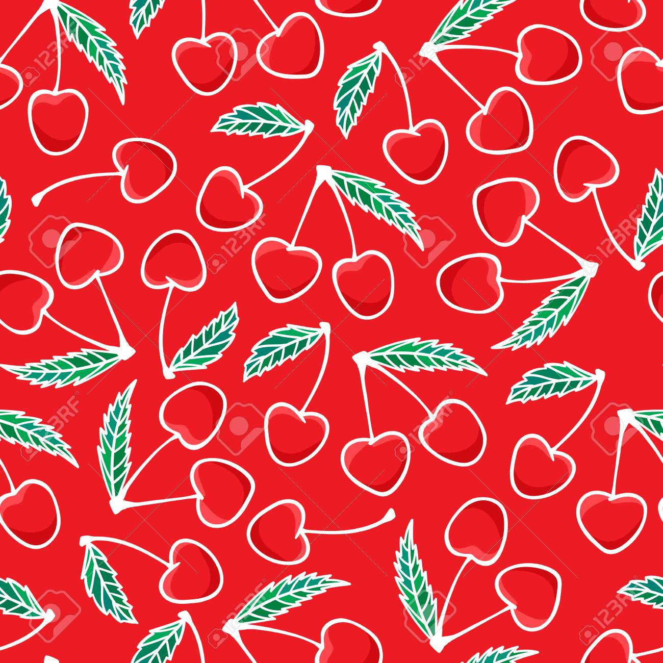 Hand Drawing Cherry Berry Fashion Seamless Pattern Isolated On Royalty Free Cliparts Vectors And Stock Illustration Image 127132610