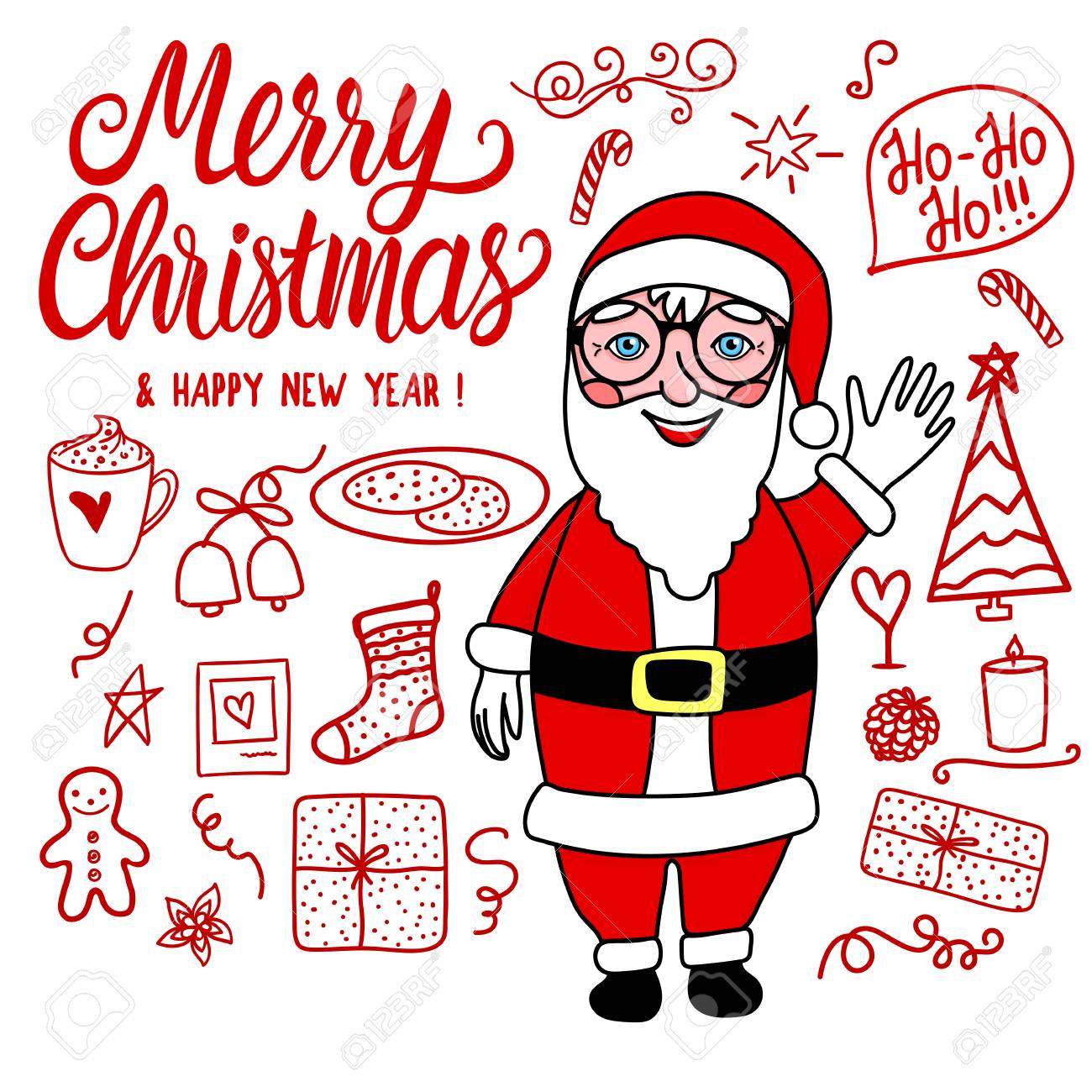 Merry Christmas Doodle Set And Santa Claus Vector Red Hand Drawing