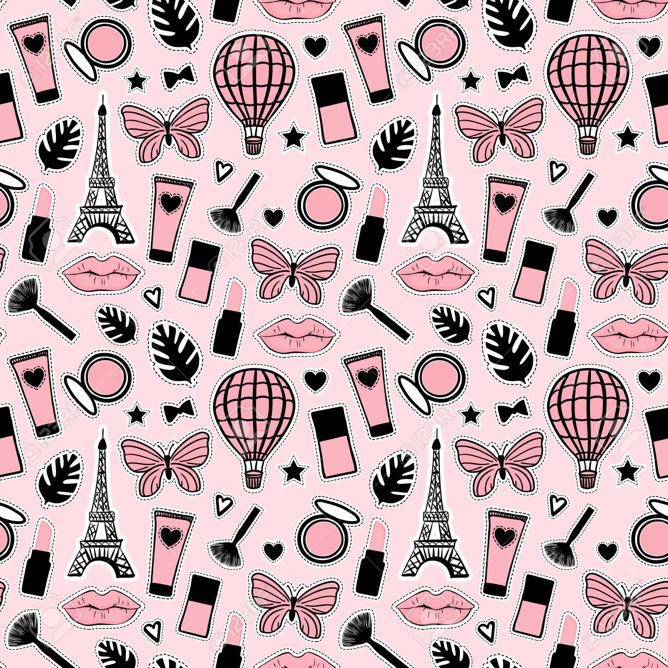 Abstract Seamless Pattern Fashion Style Cosmetic Hand Drawing Royalty Free Cliparts Vectors And Stock Illustration Image 123069061