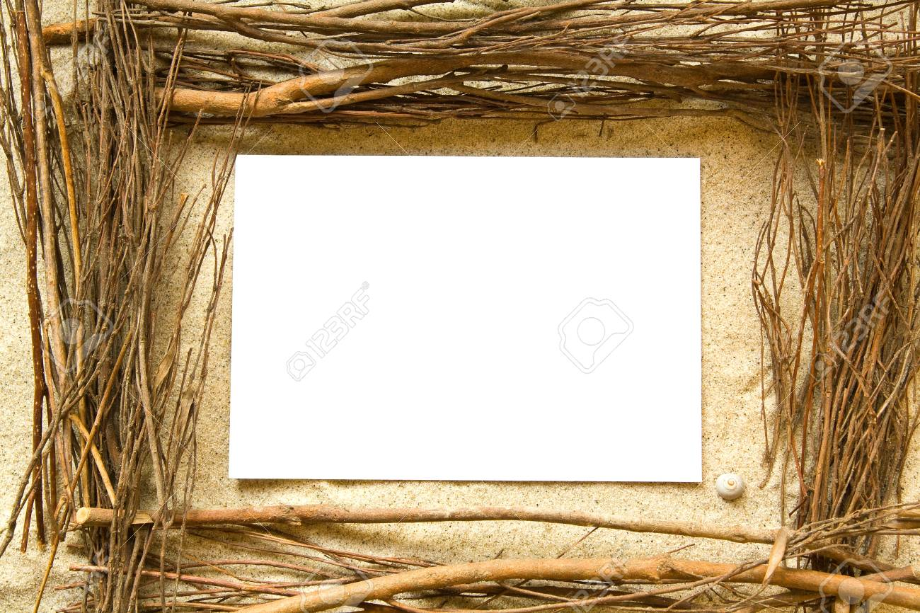 Twigs And Sand Frame Stock Photo, Picture And Royalty Free Image ...