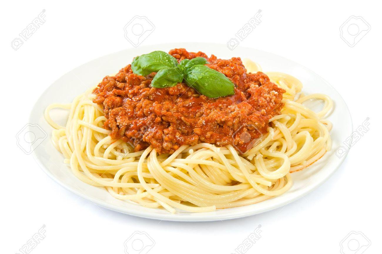 Spaghetti bolognese on white Stock Photo - 12418555