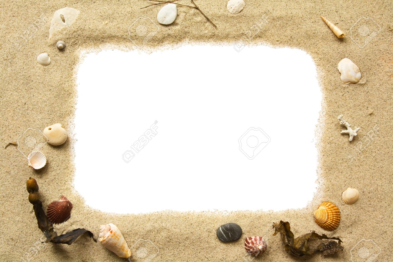 sand and seashells frame stock photo 12418121