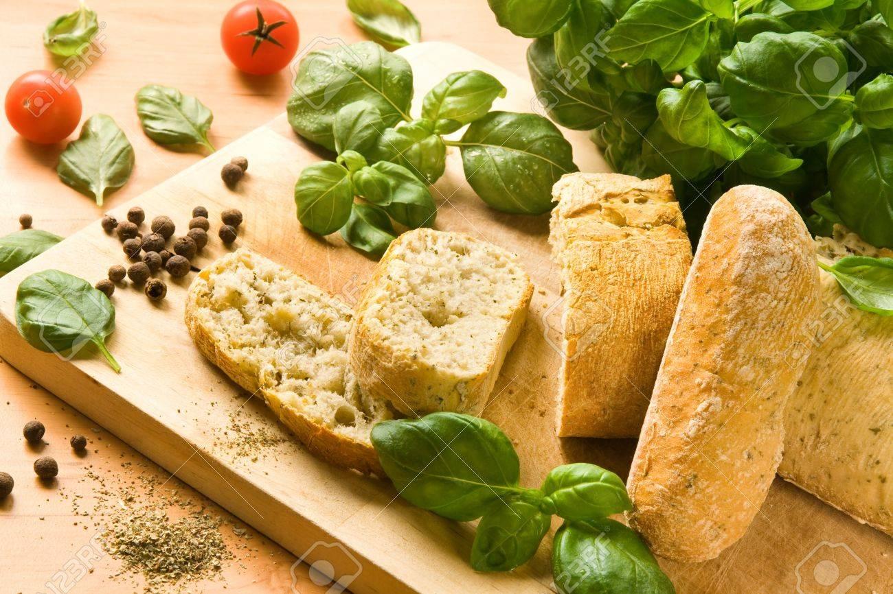 Italian ciabatta bread with herbs and spices - 12417090