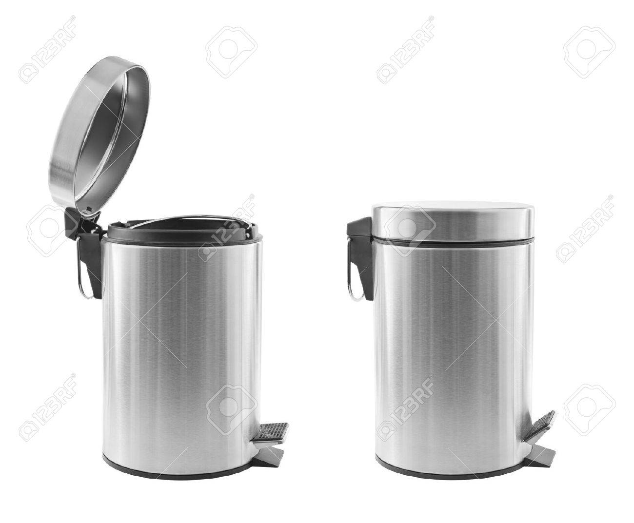 Two metal trash cans, one open, one closed, isolated on white Stock Photo - 17580835