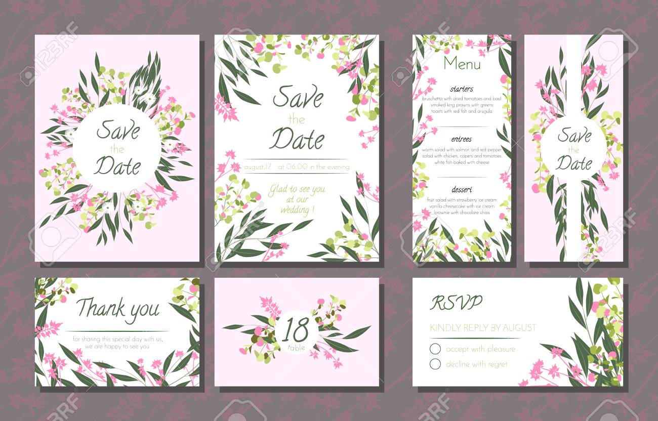 Floral wedding invitation with vector eucalyptus leaves forest floral wedding invitation with vector eucalyptus leaves forest herbs elegant decorative flowers vintage stopboris Image collections