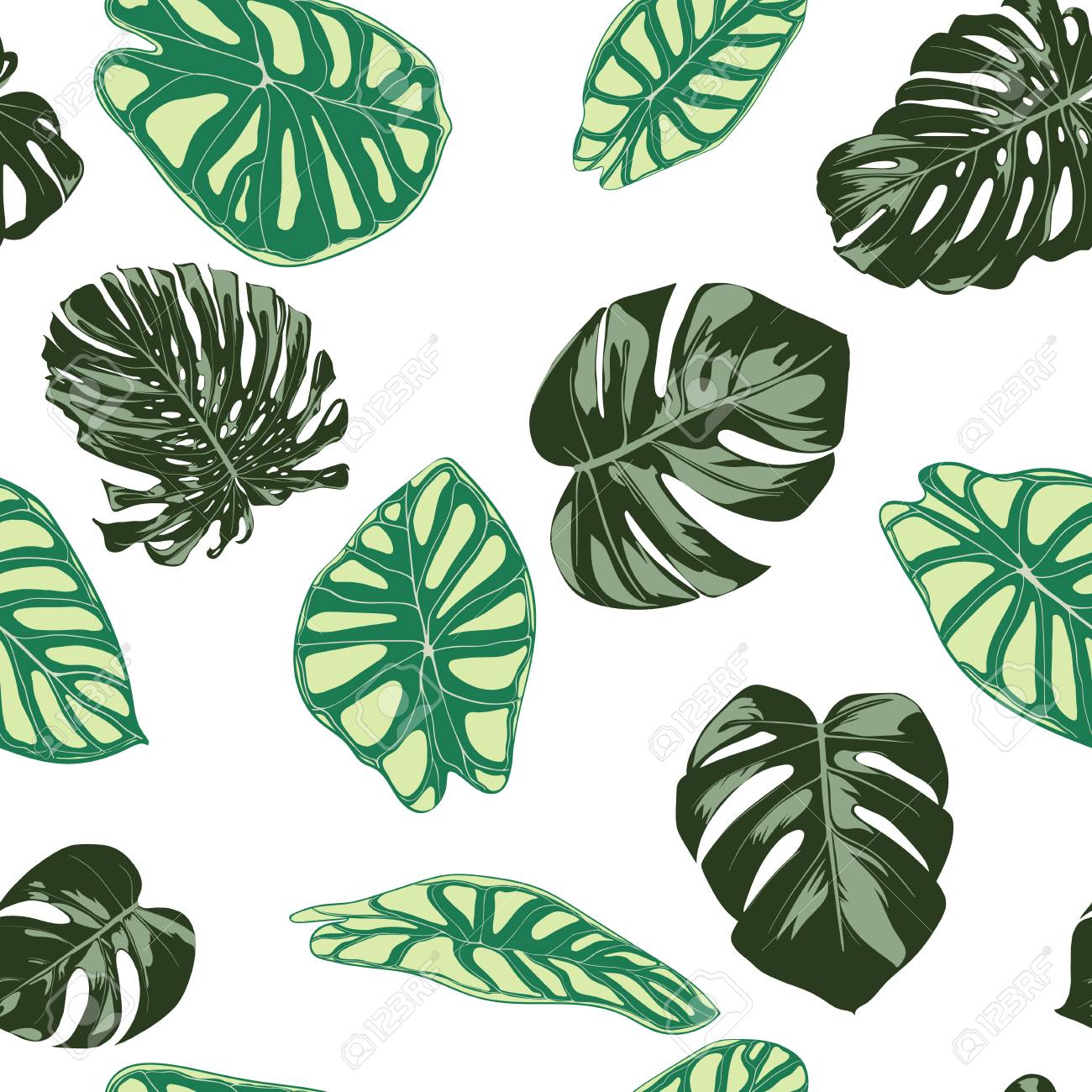 Seamless Exotic Pattern With Tropical Plants Vector Background Royalty Free Cliparts Vectors And Stock Illustration Image 112316655 Line art drawing one continuous lineart of a hand holding minimalist style. seamless exotic pattern with tropical plants vector background