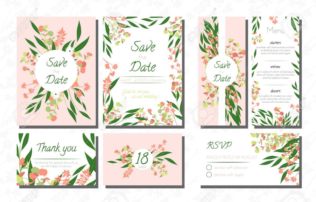 Vector Wedding Card Templates Set With Eucalyptus Decorative Invitation Leaves Floral And Herbs Garland Menu Rsvp Label Invite: Eucalytus Garland Wedding Place Card Templates At Websimilar.org