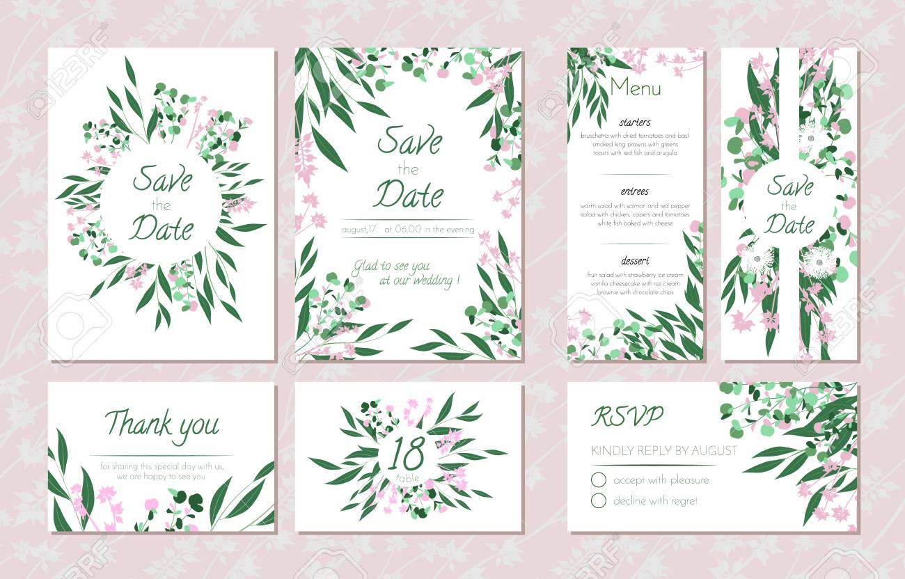 Vector Wedding Card Templates Set With Eucalyptus Decorative Frames Leaves Floral And Herbs Garland Menu Rsvp Label Invitation Nature: Eucalytus Garland Wedding Place Card Templates At Websimilar.org