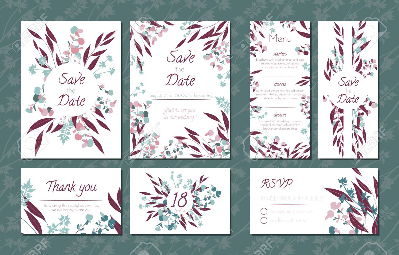 Floral Vintage Cards Set For Wedding. Invitation Templates, Rsvp,.. Royalty  Free Cliparts, Vectors, And Stock Illustration. Image 110138067.