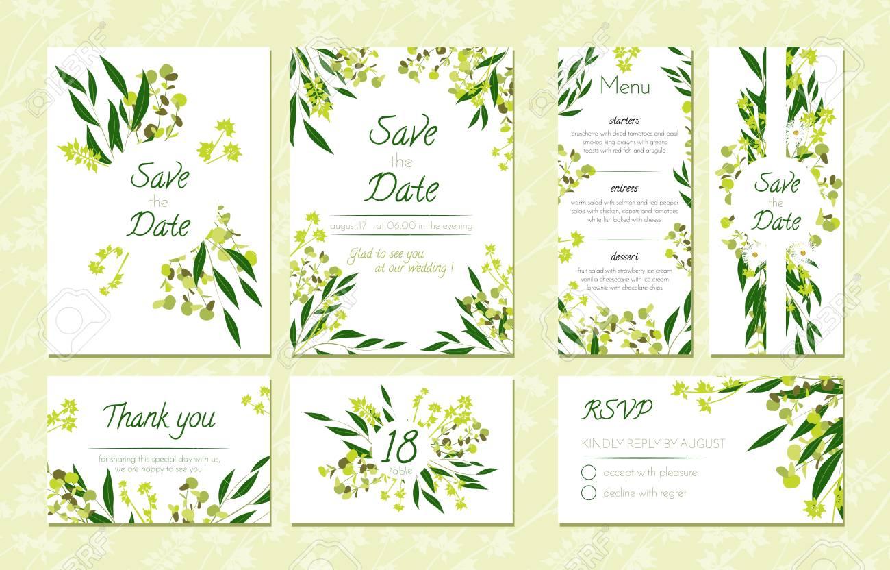 Eucalyptus Design Wedding Invitation Menu Rsvp Thank You