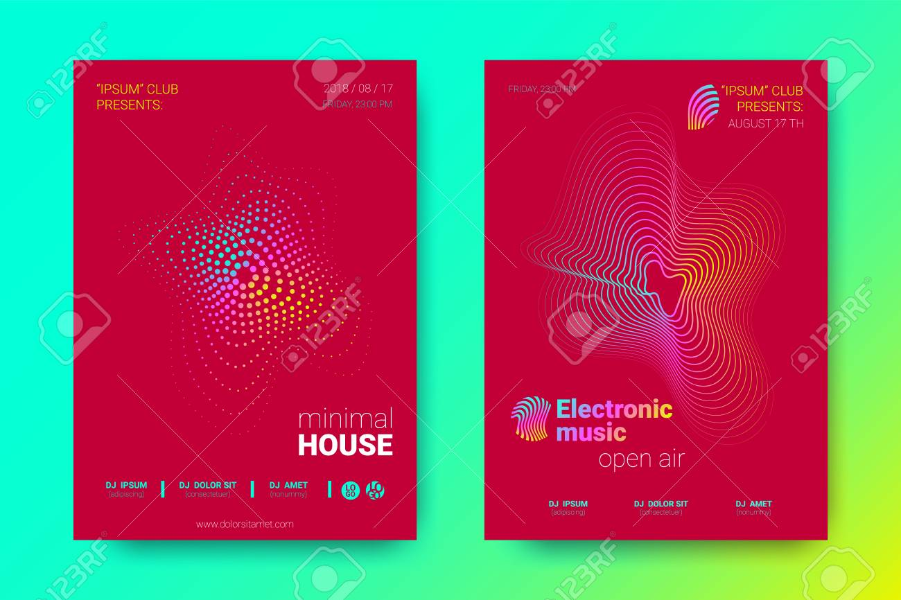 flyer of electronic music night party abstract vector background
