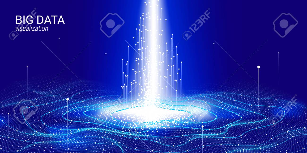3d Virtual Digital Abstraction. Big Binary Data Wave Visualization. Glow Cosmic Illustration with Movement. Information Background with Futuristic Fractal System. Digital Big Data Stream Analysis. - 115435657