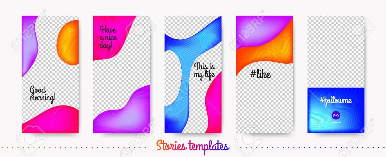 colorful flyer for story design stories templates set with fluid