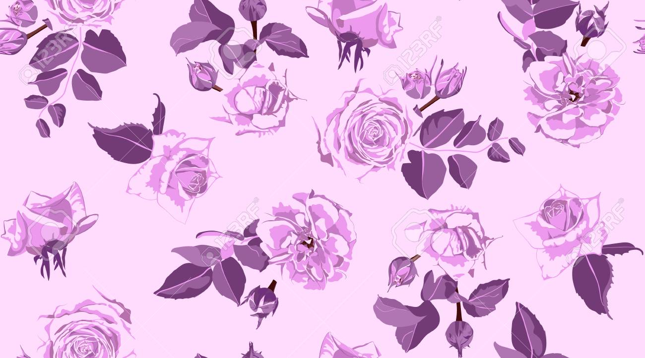 Rustic Rose, Seamless Floral Pattern in Watercolor Style. Hand Drawn Purple Roses with Petals for Wedding Decoration. Vintage Flowers Pattern, Elegant Wallpaper. Retro Rustic Roses or Peony Bouquet. - 116383623