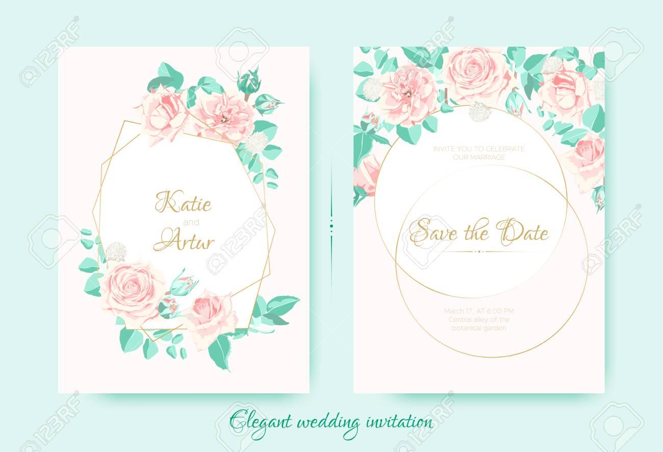 Vintage Wedding Invite, Roses In Pastel Colors. Flowers Bouquet ...