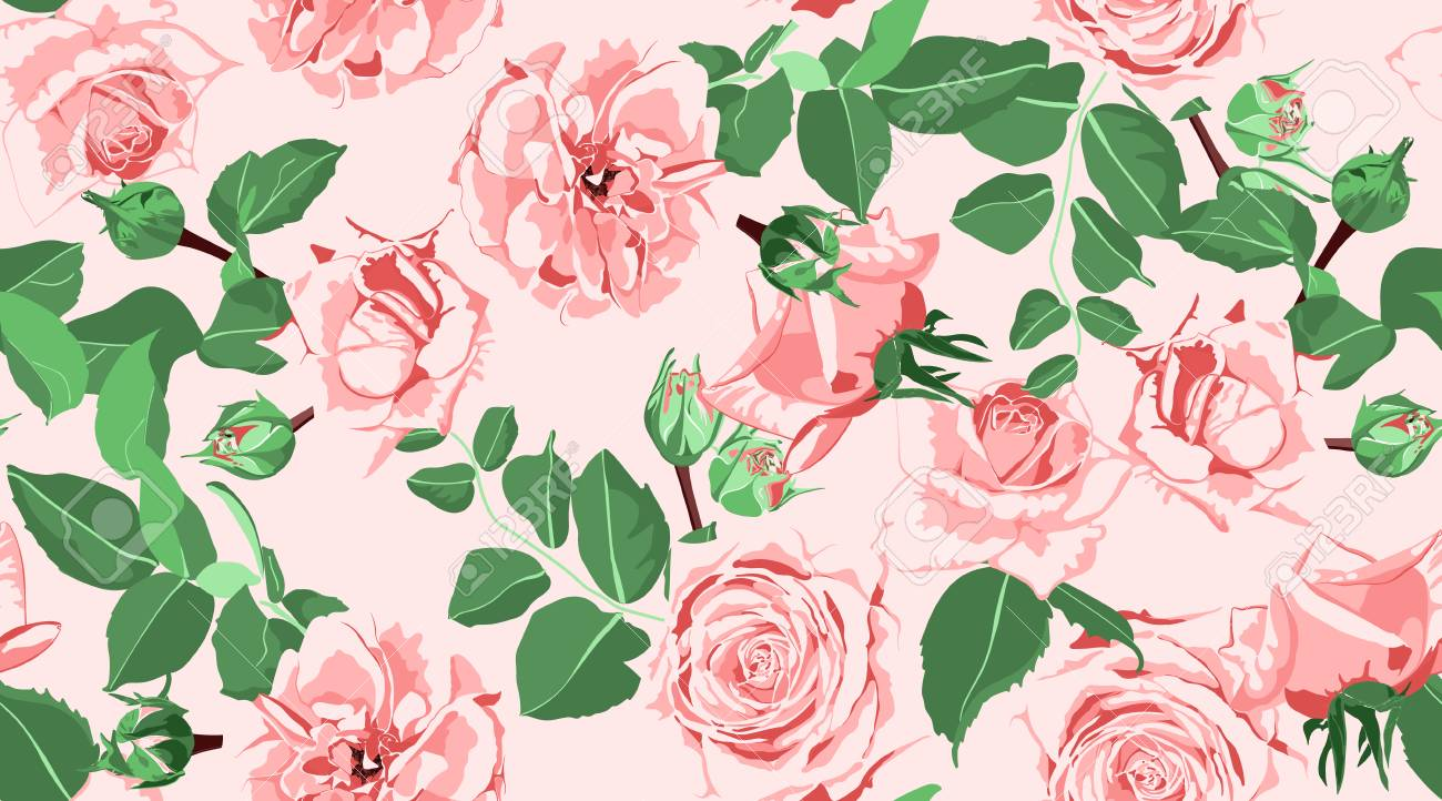 Wedding Pattern Roses Floral Background Vintage Watercolor