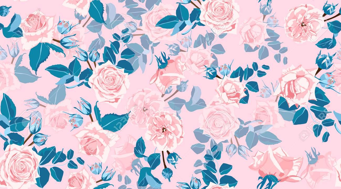Pastel Floral Pattern Vintage Pink Roses In Watercolor Style
